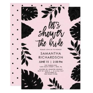 Cartão Coram o rosa e o chá tropical preto de | a noiva
