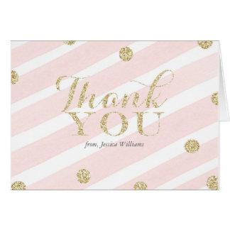 Cartão Coram o rosa e o obrigado do chá de fraldas | do