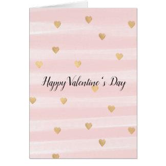 Cartão Coram os corações cor-de-rosa do ouro das listras