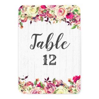 Cartão Coram os números chiques da mesa do casamento do