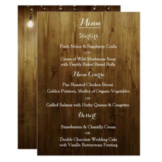 Cartão Corda rústica do menu do casamento do país das