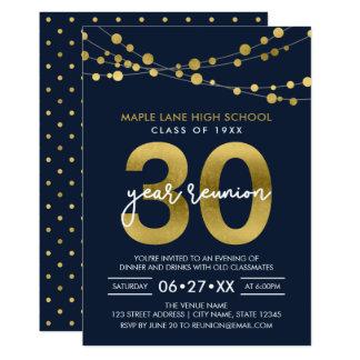 Cartão Cordas azuis das luzes reunião de escola de 30