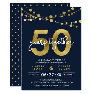 Cartão Cordas azuis do aniversário de casamento das luzes