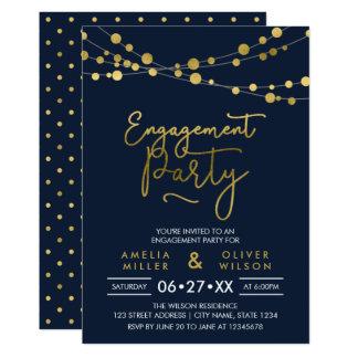 Cartão Cordas azuis elegantes da festa de noivado das