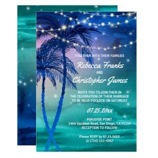 Cartão Cordas das palmeiras das luzes que Wedding