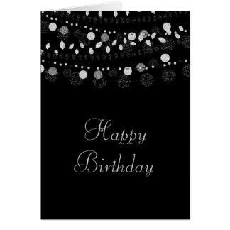 Cartão Cordas de prata das luzes no aniversário preto