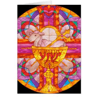 Cartão Cordeiro do vitral do deus