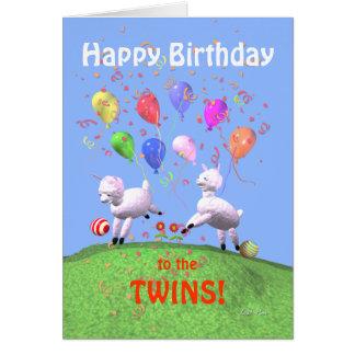 Cartão Cordeiros do feliz aniversario para gêmeos