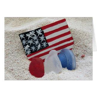 Cartão Cores patrióticas do vidro do mar