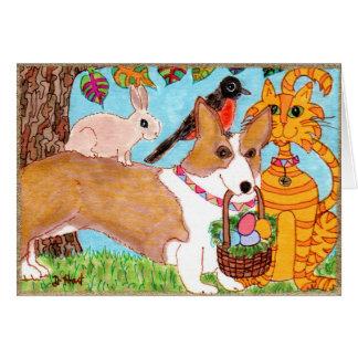 Cartão Corgi & amigos com páscoa da arte popular da cesta