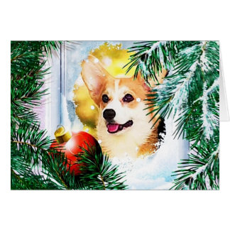 Cartão Corgi de Galês do feriado na janela do inverno