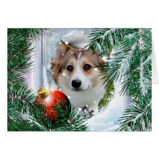 Cartão Corgi de Galês do Sable do feriado na janela do