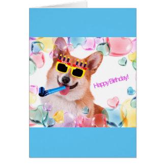 Cartão Corgi do feliz aniversario com vidros