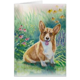 Cartão Corgi no jardim