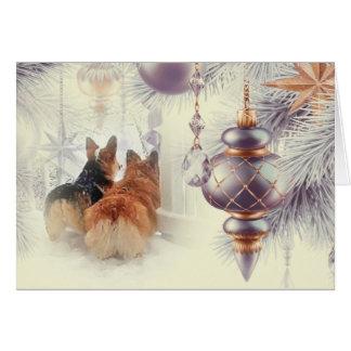 Cartão Corgis do feriado na neve
