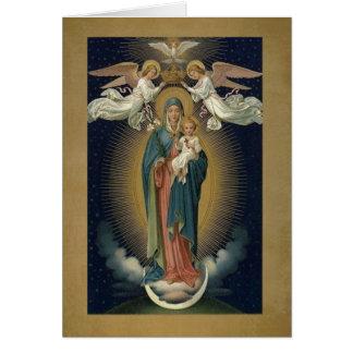 Cartão Coroação da Virgem Maria w/Jesus & dos anjos