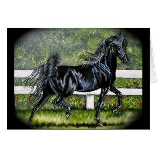 Cartão Corredor árabe preto do cavalo