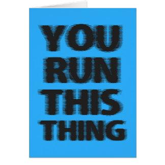 Cartão Corredor de maratona da boa sorte
