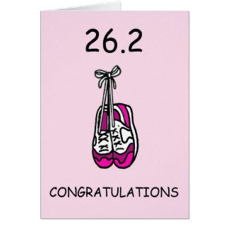 Cartão Corredor de maratona da senhora, 26,2 felicitações