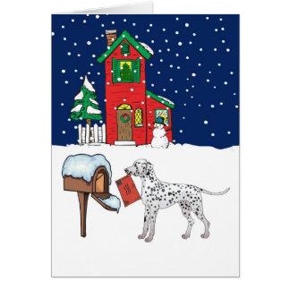 Cartão Correio Dalmatian do Natal