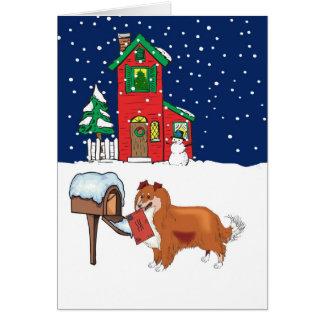 Cartão Correio do Natal de Sheltie