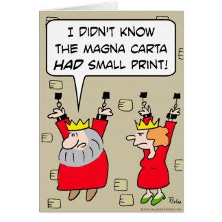 Cartão correntes do rei das letras miudinhas da Magna
