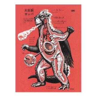 Cartão cortante japonês do monstro do vintage