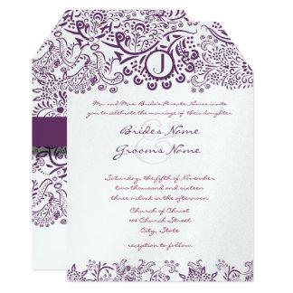 Cartão Corte casamentos roxos do monograma do damasco dos