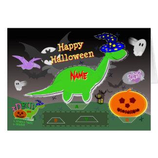 Cartão Corte dos dinossauros 3D do Dia das Bruxas &