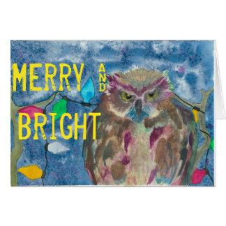 Cartão Coruja alegre & brilhante
