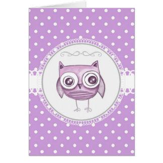Cartão Coruja bonita com lavanda Pastel das bolinhas