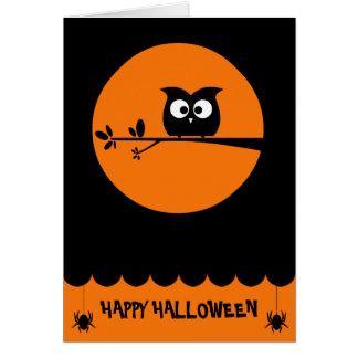 Cartão Coruja bonito do Dia das Bruxas + cores