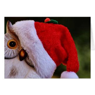 Cartão Coruja bonito do Natal, coruja do papai noel do