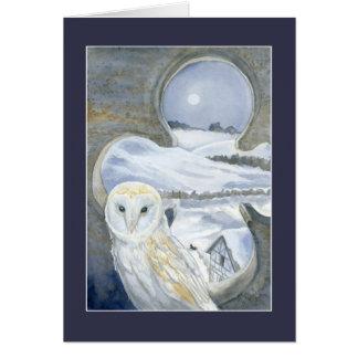 Cartão Coruja de celeiro no inverno