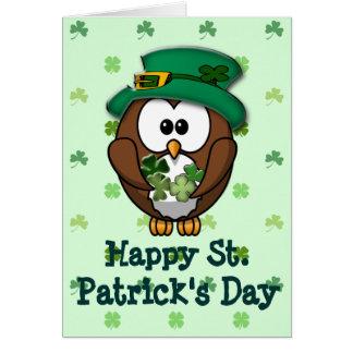 Cartão Coruja de dia de St Patrick