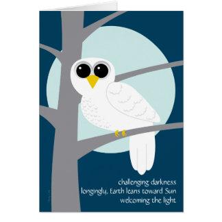 Cartão Coruja nevado dos haicais do solstício de inverno