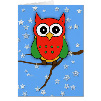 Cartão Coruja vermelha e verde adorável para o Natal