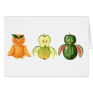 Cartão Corujas da fruta