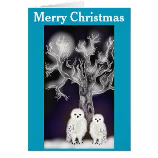 Cartão Corujas do Natal
