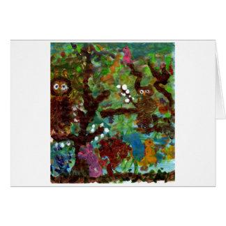 Cartão Corujas em uma árvore, #1