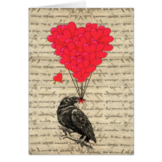 Cartão Corvo do vintage e balões dados forma coração
