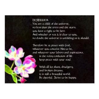 Cartão cósmico das flores dos DESIDERATA