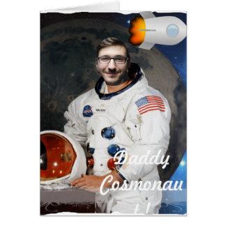 Cartão Cosmonauta, canela, espaço - com SUA foto & texto