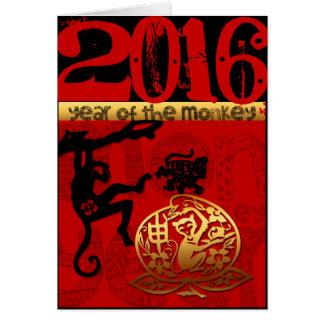 Cartão Costume 2016 anos do ano novo chinês do macaco