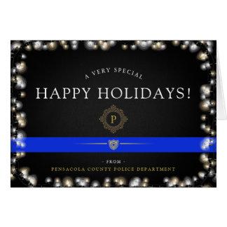 Cartão Costume do Natal da polícia boas festas |