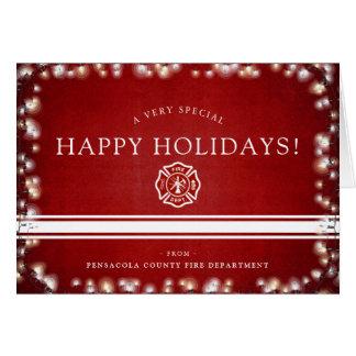 Cartão Costume do Natal do bombeiro boas festas |