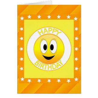 Cartão Costume do smiley face do feliz aniversario