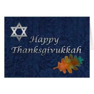 Cartão Costume elegante de Thanksgivukkah do damasco