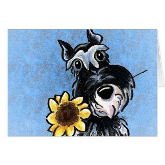 Cartão Costume ensolarado do céu azul do Schnauzer