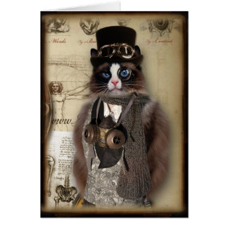 Cartão Costume Notecard do gato de Steampunk